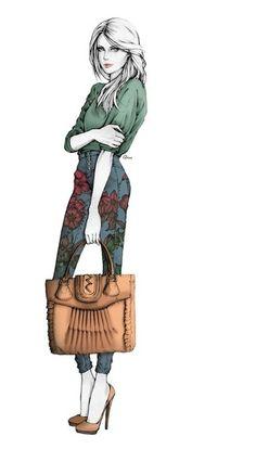 Menina linda; roupa linda; mala linda; cabelo lindo; mas o que é que falta neste lindo desenho?
