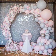 Deco Baby Shower, Baby Girl Shower Themes, Girl Baby Shower Decorations, Baby Shower Balloons, Baby Shower Gender Reveal, Bridal Shower, Balloon Garland, Balloon Decorations, Birthday Decorations