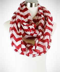 Red & White Bold Zigzag Infinity Scarf