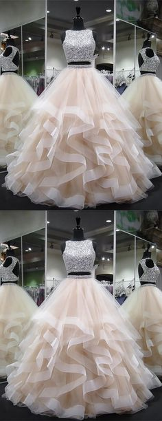 Prom Dresses Two Piece, Cute Prom Dresses, 15 Dresses, Ball Dresses, Pretty Dresses, Wedding Dresses, Dress Prom, Two Piece Quinceanera Dresses, Backless Dresses