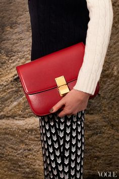 cherry red Célinepurse. GIVE ME THE BOX