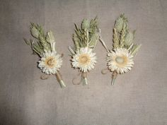 Cream and natural country wedding boutonnieres by FlowerDecoupage