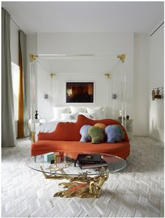 Gold and lucite four poster bed- THIS IS MY BED! ALL I EVER WANTED