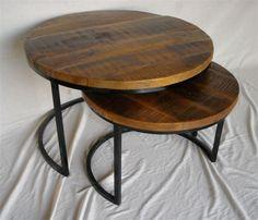 Mesas nido redondas en madera acacia reciclada. Unik Vintage Furniture