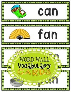 CVC Vocabulary Word Wall Cards (Set Use on your Word Wall, or laminate and use the write and wipe templates during literacy centers. Vocabulary Sentences, Vocabulary Word Walls, Vocabulary Cards, Phonics Words, Phonics Games, Cvc Words, First Year Teachers, New Teachers, Sentence Strips