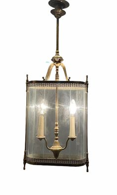 Excited to share this item from my #etsy shop: Vintage Italian ArtDeco Decorative Bronze Glass Pendant Light, Hall Lantern Fixture, Free Shipping, Wiring Comp USA
