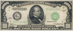 1928 One Thousand Dollar Federal Reserve Note. F - Bank of Atlanta Portrait of Grover Cleveland & U. 1000 Dollar Bill, Thousand Dollar Bill, Thousand Dollars, One Thousand, 100 Dollar, Federal Reserve Note, Grover Cleveland, Money Notes, Silver Certificate