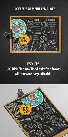 Coffee Menu Brochure — Photoshop PSD #cafe #doodle • Available here → https://graphicriver.net/item/coffee-menu-brochure/15918347?ref=pxcr
