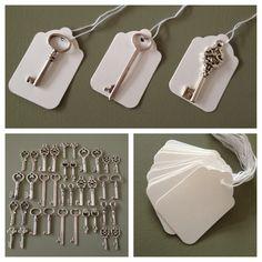 Keys of Wedlock - 100 Antique Silver Skeleton Keys & 100 White Tags - Wedding Skeleton Keys, Escort Card Vintage Keys Wedding Favors. $50.00, via Etsy.