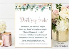 """Instant download bridal shower game - don't say """"bride"""" game. Also known as the clothespin game or wedding ring game, this fun bridal shower activity is one guests can play throughout the entire event. Simply print and pop into a photo frame #bridalshowergame #bridalshoweractivity #dontsaybride #clothespingame #weddingringgame #eucalyptusbridalgame #eucalyptusbridalshower #greenerybridalgame #floralbridalgame #floralbridalshowergame Hens Party Invitations, Printable Invitations, Bridal Shower Invitations, Party Printables, Bridal Shower Activities, Printable Bridal Shower Games, Bridal Games, Wedding Games, Plastic Wedding Rings"""