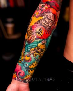 Super colorful Japanese tattoo sleeve by So good! Japanese Leg Tattoo, Japanese Tattoo Symbols, Japanese Tattoo Designs, Japanese Sleeve Tattoos, Chinese Tattoos, Arm Tattoo, Arm Sleeve Tattoos, Leg Tattoos, Tattoos For Guys