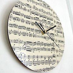 Handmade Circular Vintage Music Clock Nice idea for music room.