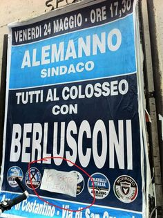 """Sunday 24th of May, Berlusconi to attend the Colosseum in Rome, the sticky note suggests """"I will bring the lions""""!"""