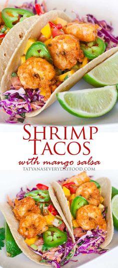 Shrimp Tacos with Mango Salsa Shrimp tacos with creamy red cabbage slaw and mango-avocado salsa! Shrimp Dishes, Shrimp Recipes, Fish Recipes, Mexican Food Recipes, Red Cabbage Recipes, Recipies, Mango Salsa, Easy Cooking, Cooking Recipes
