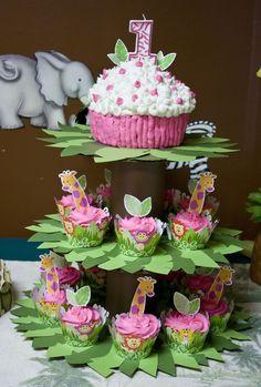 Zoo animal cupcakes, tree stand, baby girls first birthday