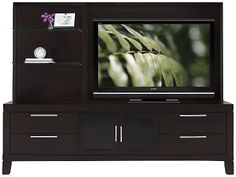 another example of a smaller entertainment unit that provides storage.