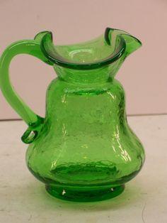 Vintage BLENKO Kelly Green Crackle Glass Pitcher Vase, $21.99 . More cool glass at www.GarageSaleGlass.com