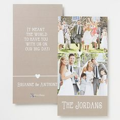 These Personalized Photo wedding Thank You Cards are so pretty!!! I love the cute heart in the middle - and it's so cool that you can upload your own wedding photos and add your own personal message - this will save brides TONS of time and money after the wedding! #wedding #thankyous