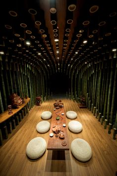 Shanghai design studio Minax project called 'Lotus & Bamboo Tea Room' for the 2014 China International Aquilaria Culture Exposition & Living Space Exhibition