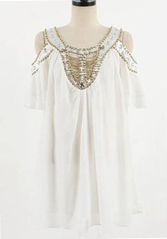 White Beading Split Sleeve Loose Chiffon Dress: More like a tunic on me :-) but love the sleeves Weird Fashion, Love Fashion, Fashion Outfits, Womens Fashion, Chiffon Dress Long, Material Girls, Dress Me Up, Cool Outfits, Dressing
