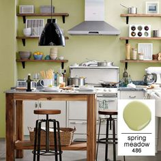 Kitchen Painted With Benjamin Moore Spring Meadow Wall Shelves Wood Shelf
