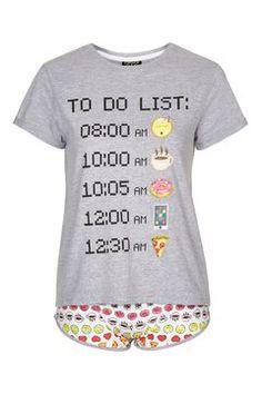 Photo 1 of Emoji Pyjama Set Cotton Sleepwear, Cotton Pyjamas, Topshop Pyjamas, Robes Vintage, Emoji Love, Cute Pajamas, Pajama Top, Pj Sets, Primark