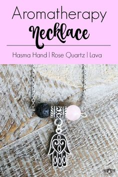 Hasma Hand Aromatherapy Necklace with Rose Quartz and Black Lava. Women's beaded necklace for essential oils. CLICK HERE to see all of my designs!