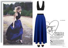 Новогодний образ с длинной синей юбкой и топом,  look with blue skirt