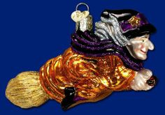 Old World Christmas Witch on Broomstick Ornament by Old World Christmas. $17.99. Large assortment of hand crafted glass ornaments. Delicately hand painted with many bright lacquers and glitters for you to enjoy. The world's best-loved mouth-blown figural glass ornament collections. Carefully mouth-blown into a finely crafted mold. Whimsical glass ornament. This beautiful glass ornament was carefully mouth-blown into a finely crafted mold. Then a hot solution of...