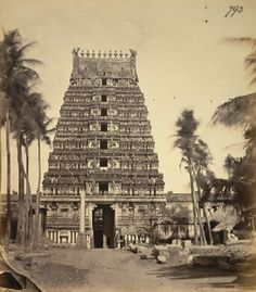 Margasahayeshvara Temple, Entrance gopura 1875 Photograph of the entrance gopura of the Margasahayeshvara Temple at Virinchipuram, from the Archaeological Survey of India Collections, taken by an unknown photographer in c.1870. The Margasahayeshvara or Marghabhandu Temple was built in the Aravidu style of Tamil Nadu in the 16th century. (via British Library)