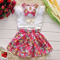 2016 Princesse Fille Robe D'été Robe enfants vêtements bébé Enfants Top + Jupe fantasia infantis robe Menina bébé Baby Outfits, Girls Summer Outfits, Baby Girl Dresses, Baby Dress, Summer Clothes, T Shirt Flowers, Kids Suits, Girls Suit, Designer Baby Clothes