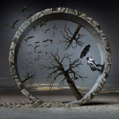 ♂ Dream / Imagination / Surrealism Surreal Illustrations by IgorMorski Jan - Man with umbrella walk inside a circle