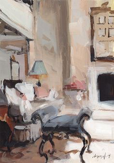 ◇ Artful Interiors ◇ paintings of beautiful rooms - David Lloyd, Living Room I