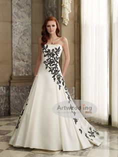 Strapless Satin Princess Gown with Detailed 3D Floral Embroidery