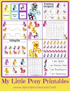 P is for PONY! My Little Pony Printable Pack {free} from 1+1+1=1 Mainly Preschool level skills, some tot and Kindergarten also!