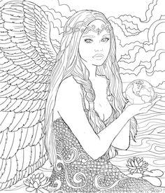 Coloring to Life: Archangels & Ascended Masters Angel Coloring Pages, Mermaid Coloring Pages, Colouring Pages, Adult Coloring Pages, Coloring Sheets, Coloring Books, Medusa Art, Digi Stamps, Art Lessons