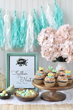 Our Olson Domed Pedestal Cake Stand is the perfect display piece for Mindy's baby shower cupcakes.