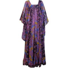 1970s David Silverman Bohemian Angel Wing Maxi Dress (2.385 BRL) ❤ liked on Polyvore featuring dresses, sleeve maxi dress, vintage day dress, purple dress, vintage dresses and print maxi dress