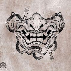 Tattoo Design Drawings, Tattoo Sleeve Designs, Art Drawings Sketches, Tattoo Sketches, Sleeve Tattoos, Japan Tattoo Design, Samurai Mask Tattoo, Oni Tattoo, Hanya Tattoo