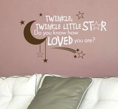 Nursery Quote Decal Twinkle Twinkle Little Star by AirlieCreations,