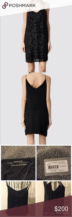 All Saints Elixer Sequin and Silk Dress Silk and sequins, hand embellished All Saints dress. Brand NWT, never worn.  U.S. Size 8. Front of dress is sequined and the back is entirely made of silk. Spaghetti straps, fully lined. CHEAPER ON MERCARI All Saints Dresses Mini