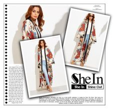 """""""WIN SHEIN Multicolor Flower Print Contrast Trim Belted Maxi Kimono"""" by albinnaflower ❤ liked on Polyvore featuring Whiteley"""