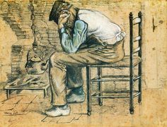 Peasant Sitting by the Fireplace (Worn Out) - Vincent van Gogh - 1881