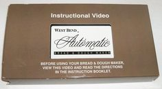 WEST BEND AUTOMATIC BREAD & DOUGH MAKER INSTRUCTIONAL INSTRUCTING VIDEO TAPE VHS #WestBend