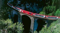 The luxury Glacier Express trains with panoramic windows connects Zermatt and St Moritz via some of the most spectacular Alpine scenery in Switzerland. Glacier Express Switzerland, Switzerland Tourism, By Train, Train Route, Train Trip, Zermatt, Cinque Terre, Great Places