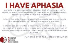 Explaining Aphasia to Other People - National Aphasia Association Speech Language Therapy, Music Therapy, Speech And Language, Speech Therapy, Brain Injury Recovery, Stroke Recovery, Traumatic Brain Injury, Aphasia Therapy, Brain Aneurysm