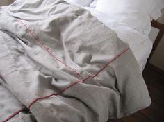 grey/red/plaid queen linen duvet cover