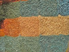 knitted blanket 2012 by amona, via Flickr << Spun, dyed, and knitted by amona. Domino knitting (mitred squares) Lovely.