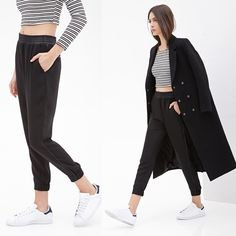 NWT faux leather trimmed joggers Loved these! But I'm too short and it doesn't look as cool as I want it to on me lol I'm 4'11, pretty short lol NEW WITH TAGS! Bundle and save ❤️ Forever 21 Pants Track Pants & Joggers