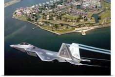 Stocktrek Images Poster Print Wall Art Print entitled A F/A 22 Raptor flies over Fort Monroe, None